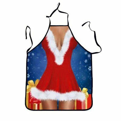 3X(Christmas Apron, Snowflake Print Kitchen Cooking (Red skirt beauty) E5O3