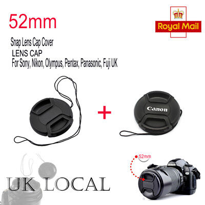2PCS 52mm Snap-on Lens Front Cap for Canon Camera 52MM UK-SELLER