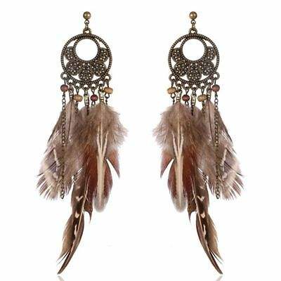 3X(Exaggerated hook earrings Round ring bohemian feather pendant for women Q4K2