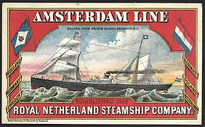Gorgeous Amsterdam Line - Royal Netherland Steamship Company Trade Card