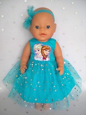 """Dolls clothes for 17"""" Baby Born doll~FROZEN SISTERS AQUA SPARKLE DRESS~HAIR BOW"""