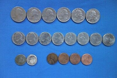 USA - Quarters, Dimes, Nickels & Cents - 20 assorted coins