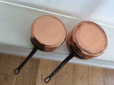 2 old French copper saucepans.