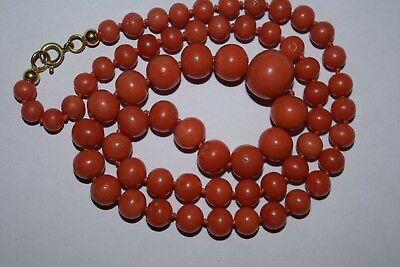 29 gr old natural coral necklace alte Korallenkette 11 mm