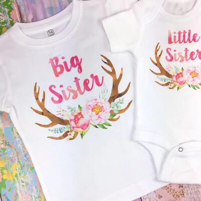 AU Little/Big Sister Baby Girl Romper T-shirt Tops Matching Outfits Cute Clothes