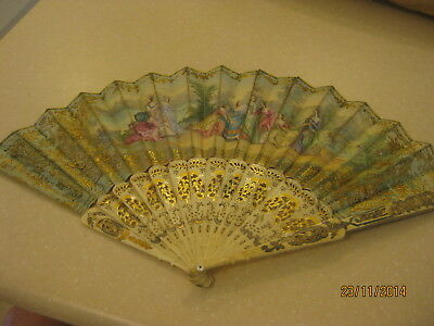 ANTIQUE LADIES (EVENTAIL) HAND FAN, LATE 19th CENTURY IN ORIGINAL BOX