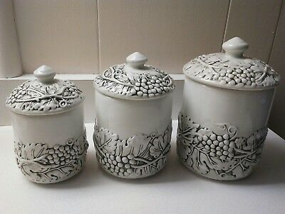 Grapes/Grapevine Set of 3 Canisters Embossed White/Green WCL