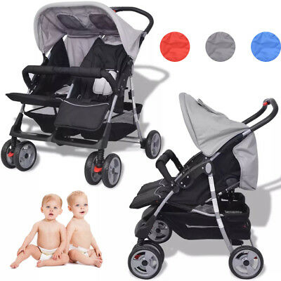 Twins Folding Tandem Stroller Double Baby Pushchair Toddler Pram Buggy Steel UK