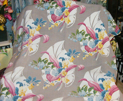 "Vintage Wonderful Soft Color Sweet Pea BarkCloth Panel - 42""W by 84""L"