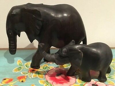 Pair Of Solid Wood Elephants
