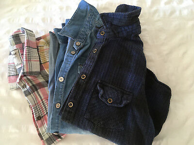 Girls bundle of long sleeved shirts Age 12-13 yrs. I denim and 2 checked style.