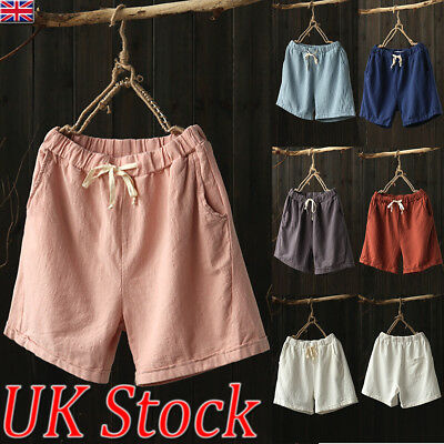 UK Womens Summer Holiday Linen Casual Shorts High Waist Tie Knot Pants Trousers