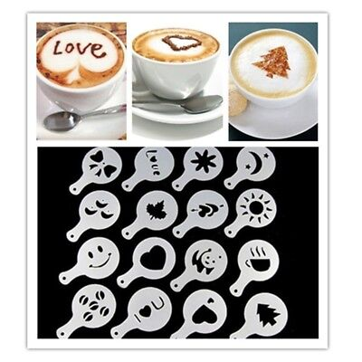 16 pcs Barista Chocolate Duster 16pcs Cappuccino Latte Coffee Art Stencils