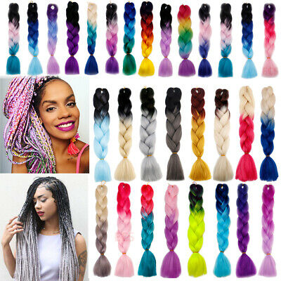 Ombre Jumbo Coloured Braiding Hair Synthetic Hair Extensions Box Twist Braids AU