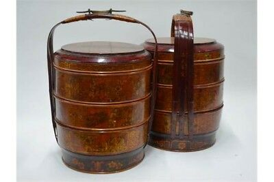 Pair Of Chinese Wooden & Bamboo Lacquered  Wedding Baskets