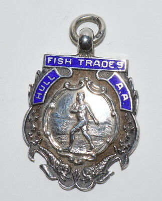 Hull Fish Trades Boxing Athletic Hallmarked Sterling Enamel Watch Fob 1935