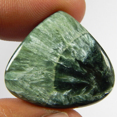 24.60 Cts Natural Green Seraphinite Heart Shape Loose Cabochon Gemstone