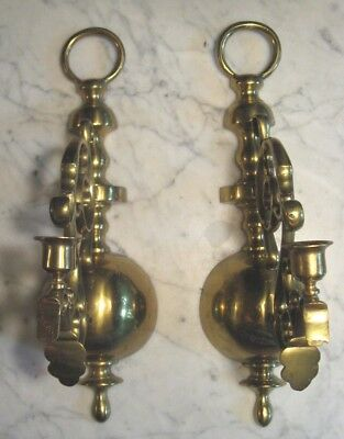 """Pair of Vintage Sconces a Brass Act! 15"""" Brass Wall Candle Sconces"""