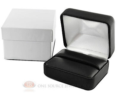 """Black Faux Leather Double Ring Display Jewelry Gift Box 2 3/8"""" x 2"""" x 1 1/2""""H"""
