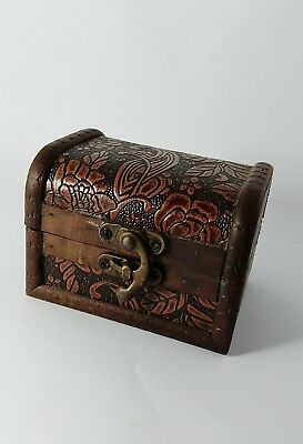 Vintage Wooden Box Small Hand Carved Engraved Roses Jewelry Storage Unique Art
