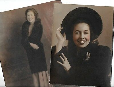 Vintage Studio Photos Lot Of (2) Tinted Hand Colored Lovely  Hat &  Jewelry