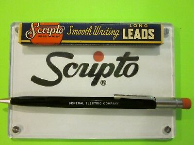 NOS SCRIPTO BLACK GENERAL ELECTRIC 1.1mm PENCIL w/ box 1.1mm leads & erasers