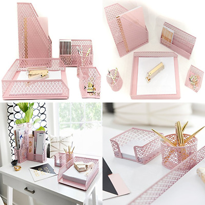 Sensational Blu Monaco Office Supplies Pink Desk Accessories For Women 5 Pc Organizer Set Ma Beutiful Home Inspiration Xortanetmahrainfo