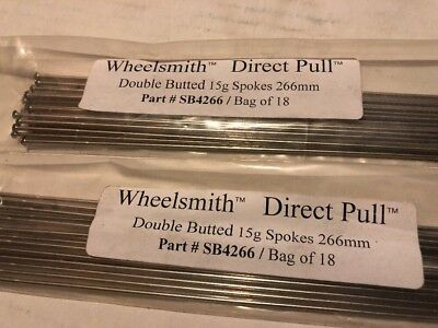 Wheelsmith DB15 Direct Pull Spokes Double Butted 282mm 15g Lot of 10 Black NEW