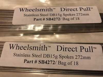 Wheelsmith DB15 Spokes Double Butted 291mm 15g 1.8//1.5//1.8 Lot of 10 Black NEW