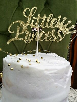 Happy Birthday Cake Pick Topper Decoration Little Princess Gold New Calligraphy