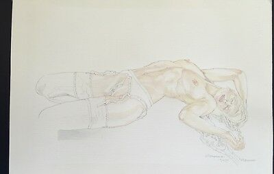 Nude.Original Painting.Naked Woman,Lace Suspenders & Stockings Lays on Bed.Sexy