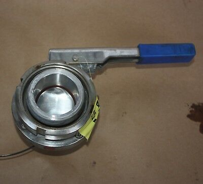 "50mm 2"" DIN DN50 Stainless food wine grade butterfly Valve hand manual actuated"