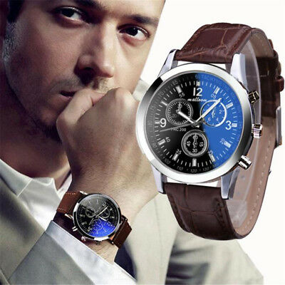 SALE 2018 Top Brand Luxury Fashion Faux Leather Watches Mens Blue Ray Glass