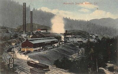 Kennet, CA-Postcard View of Mammoth Smelter-Railroad Tracks Alongside