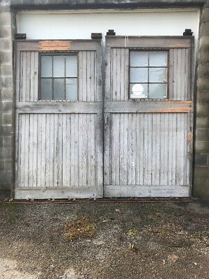"MAR217 match Pair antique barn sliding doors with track and Wheels 115"" X103.25h"