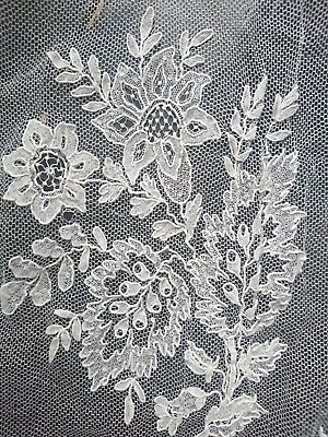 Antique 19th Century / c.1830s Brussels Needlepoint Lace On Droschel Veil