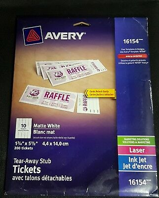 avery printable tickets wtear away stubs 16154 matte white 200 tickets
