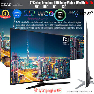 "TEAC 43"" Inch 4K UHD SMART TV Netflix Dolby Vision HDR Made Europe 3 Yr Warranty"