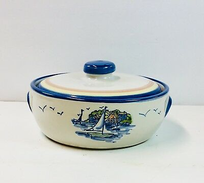Louisville Stoneware Pottery Covered Casserole Sail boat pattern.