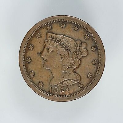 1851 Braided Hair Half Cent 1/2C Details Au About Uncirculated (6104)