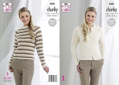 KINGCOLE 5281 Adult Chunky KNITTING PATTERN  28-46inch-not the finished garments