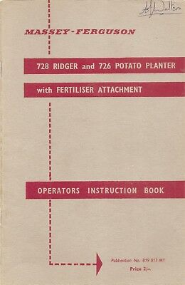 Ferguson Ridger & Potato Planter Instruction Book  ............. Original Manual