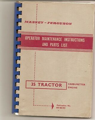 FERGUSON 35 OPERATOR MAINTENANCE INSTRUCTIONS & PARTS LIST .170 pages Great Info