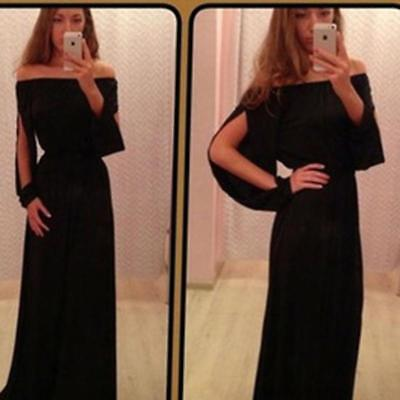 Women Lady Fashion Off Shoulder Long Sleeve Dress Evening Party Cocktail Q