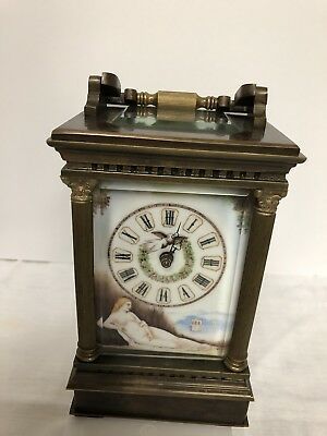 Vintage French Carriage Clock Brass & Porcelain Female Nude Panels Hand Painted