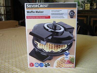 WAFFLE MAKER by SILVERCREST  TEFLON NON-STICK COATING   BRAND NEW IN BOX