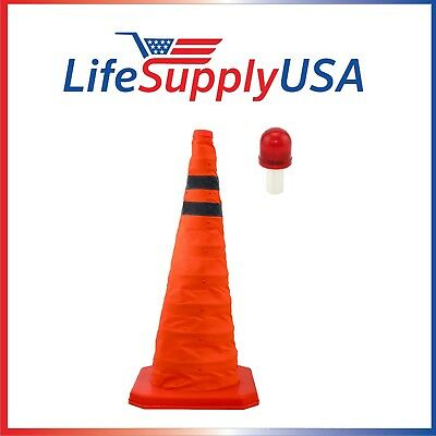 """2PK Collapsible 28"""" Reflective Pop Up Safety Extendable Traffic Cone w LED Light"""