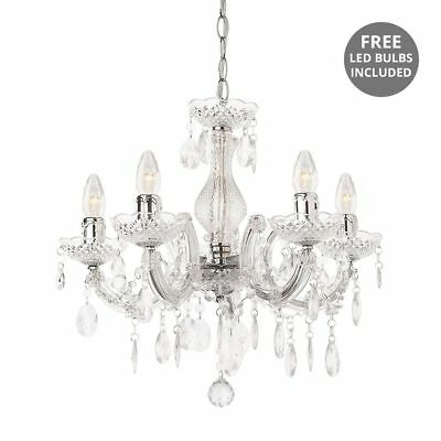 Chandelier 5 Way Chrome Modern Marie Therese With FREE LED Bulbs Litecraft
