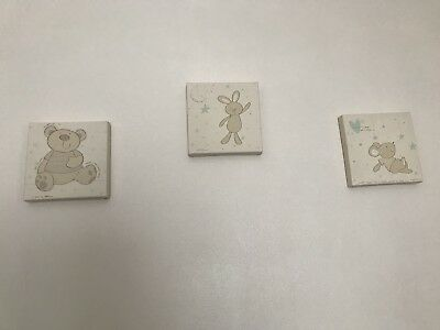 3 Nursery Baby Canvas Bear Bunny And Mouse Mothercare