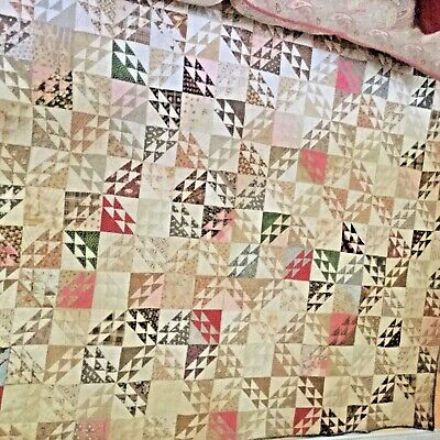 wonderful antique red and cream color old hand made  quilt it to die for